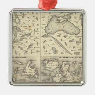 Comparative Size of Lakes and Islands Metal Ornament