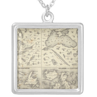 Comparative Size of Lakes and Islands Silver Plated Necklace
