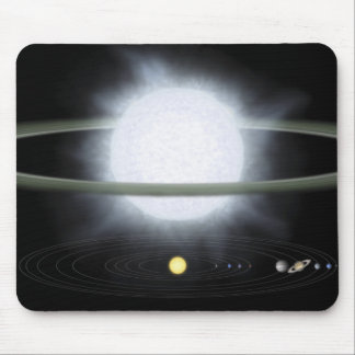 Comparison of the size of a hypergiant star mouse pad