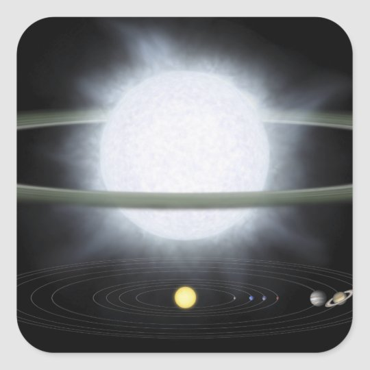Comparison of the size of a hypergiant star square sticker