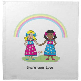 Comparta el amor - igualdad para todos servilletas imprimidas