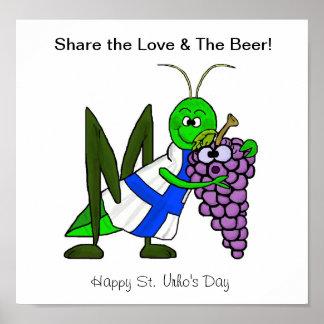 Comparta el amor y el poster de la cerveza - día d