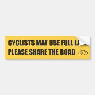 Comparta el camino - los ciclistas pueden utilizar etiqueta de parachoque