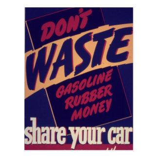 Comparta su coche - vintage postales