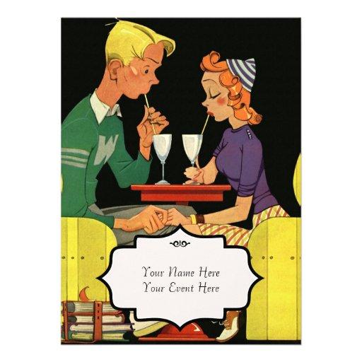 Comparta un batido de leche - invitación del boda