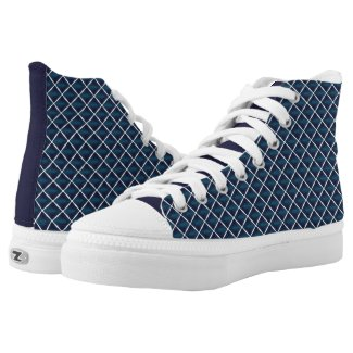 Compartment Design Rounded Blue High-Top Sneakers