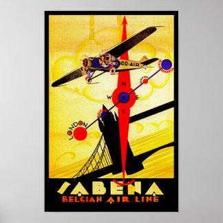 Compás del art déco de Sabena Posters