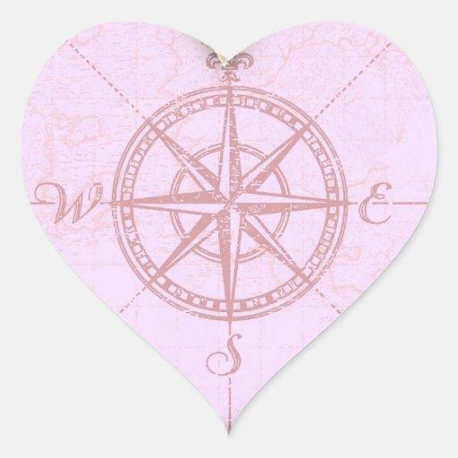 Compás del corazón pegatina en forma de corazón