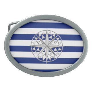 Compás del estilo del cromo en rayas náuticas hebilla de cinturón oval