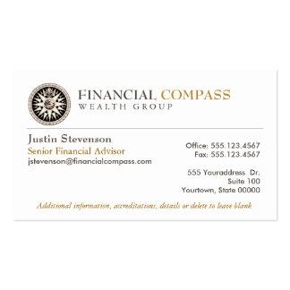Compás financiero de las finanzas del analista del tarjetas de visita