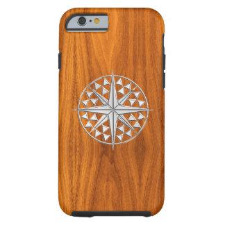 Compás náutico de la estrella del cromo en la funda de iPhone 6 tough