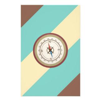 Compás náutico en el vintage Brown poner crema azu Flyer Personalizado