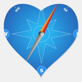 Compás Safari Navegación Pegatina En Forma De Corazón