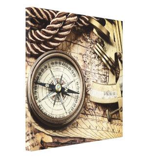 Compás y cartas navegacionales náuticos impresión en lienzo