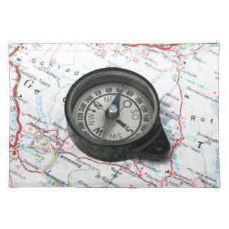 Compás y mapa manteles individuales