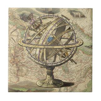 Compás y mapa náuticos del vintage azulejo cuadrado pequeño