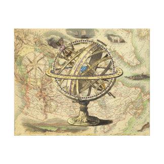Compás y mapa náuticos del vintage impresión en lienzo