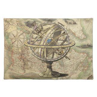 Compás y mapa náuticos del vintage mantel