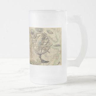 Compás y mapa náuticos del vintage taza de cristal