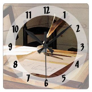 Compás y T-Cuadrado Reloj Cuadrado
