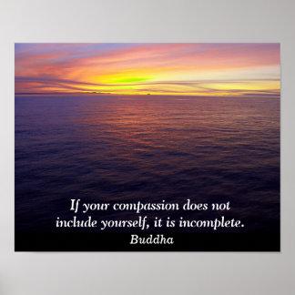 Compasión - cita de Buda - impresión del arte Póster