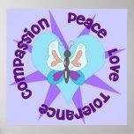 Compasión de la tolerancia del amor de la paz posters