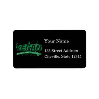 Compasión del amor de la paz del vegano etiquetas de dirección