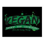 Compasión del amor de la paz del vegano postal