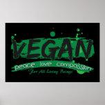 Compasión del amor de la paz del vegano póster