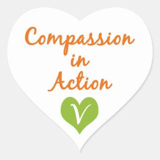 Compasión en la acción pegatinas corazon personalizadas
