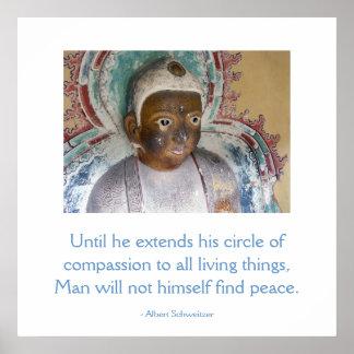 Compasión para el poster de Buda de los animales