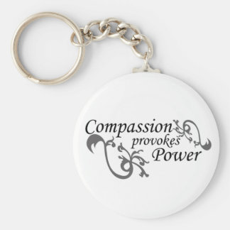 Compasision provokes Power Basic Round Button Keychain