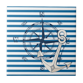 Compass and Anchor Blue and White Stripe Tile