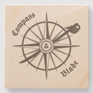 Compass and Blade Marble Coaster