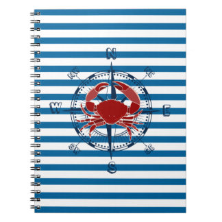 Compass and Crab Blue and White Stripe Notebook