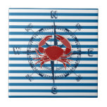 Compass and Crab Blue and White Stripe Tile