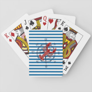 Compass and Lobster Blue and White Stripe Cards Playing Cards
