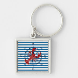 Compass and Lobster Blue and White Stripe Silver-Colored Square Keychain