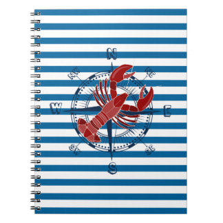 Compass and Lobster Blue and White Stripe Notebook
