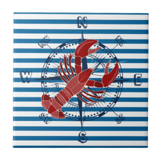 Compass and Lobster Blue and White Stripe Tile