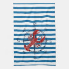 Compass and Lobster Blue and White Stripe Towel