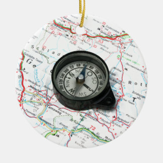 Compass And Map Ceramic Ornament