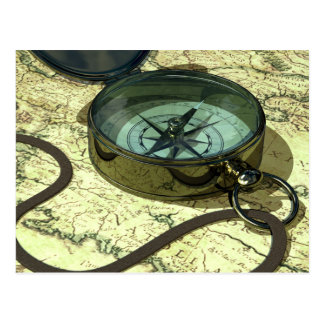 Compass and Map Postcard
