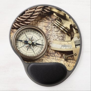 WhenWestMeetEast Compass and navigational Charts nautical Gel Mouse Pad