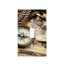 Compass and navigational Charts nautical Light Switch Cover