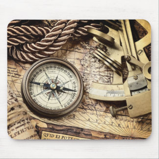 Compass and navigational Charts nautical Mouse Pad