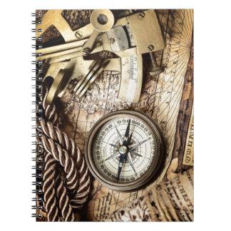 Compass and navigational Charts nautical Notebook