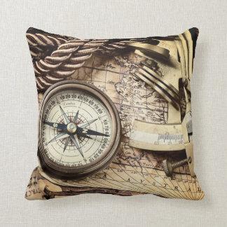 Compass and navigational Charts nautical Throw Pillow