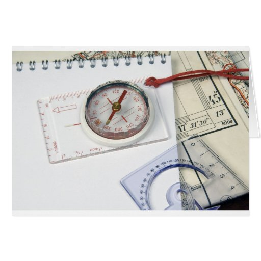 Compass and old maps card