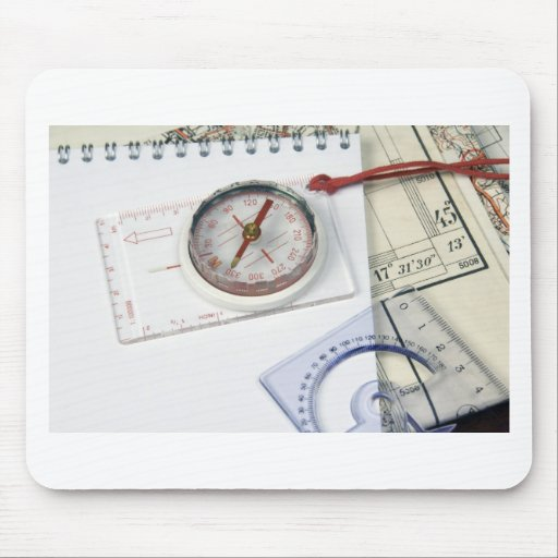 Compass and old maps mouse pad